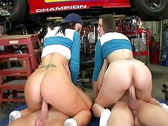 Brunette Twins Fucked In The Garage