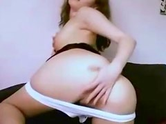 She enjoys rubbing her sweet pussy