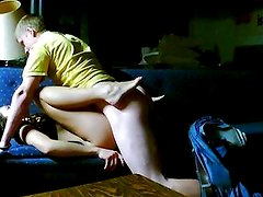 Young couple alone at home - Hidden cam