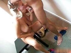 Nasty blonde slut sucks on an hard cock