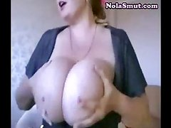 Brunette Huge Saggy Tits on Webcam