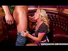 Sexy blonde waitress seduces her customer