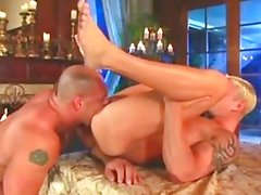 Hot muscle daddy with young blonde