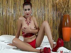 Sexy Asians with big red toys