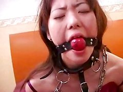 Japanese  girl excited by being whipped