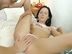 Charming brunette with elastic ass and sweet titties wildly banged in her virgin ass