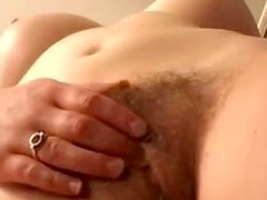 Busty hairy girl masturbates to orgasm, twice!