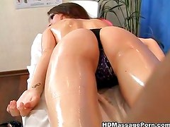 Massage with sexy brunette babe