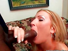 Amazing blonde slut with nice tits sucks