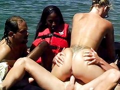 Interracial swinger banging on the airbed