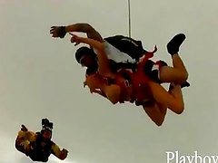 Lusty babes enjoy trying out skydiving
