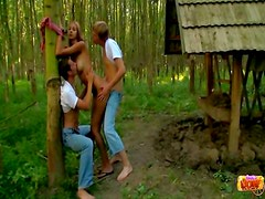 Teen spit roasted outdoors