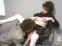 Making the clerk lick her hairy pussy