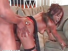 Ebony fucked after thong pulled out