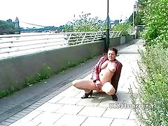 Crazy exhibitionist milf squirting in public