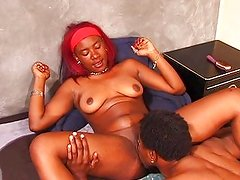 Ghetto ebony riding black cock at home