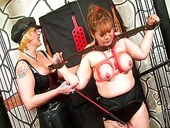 BDSM babe tied up and punished
