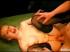Lying on her back girl gives sucking cock