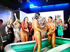 Hot combat of European babes in a swimming pool