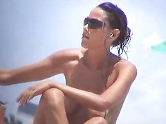 Debora Bello topless at the beach!