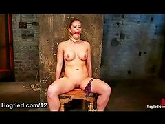 Bound to the chair babe tits flogged
