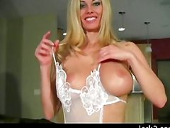 Jerkoff instructor Anita in lacy nylon outfit