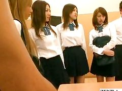 Naked school Japan public group blowjob