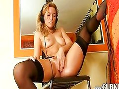 hot blond fingering her tight pussy