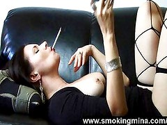 Smoking and touching wife