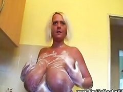 Natural tits does washing up for one