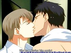 Anime gay couple hot kiss and touch