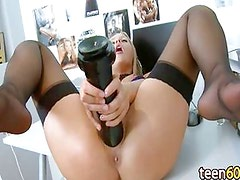 sexy blonde and her extreme dildo