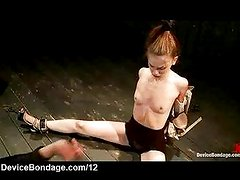 Cuffed on the floor babe flogged by master