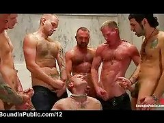 Bound gay receives many loads of cum