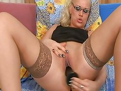 Horny piano teacher bangs her own keys