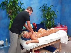 Blonde teen recored in massage room