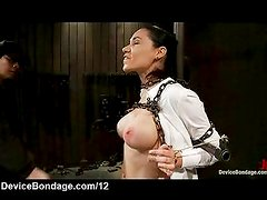 Busty chained brunette gets whipped