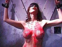 Tittorture with candlewax