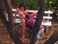 Big tits fucked on park bench