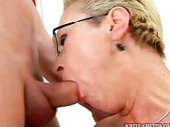 Elder chick on younger dick