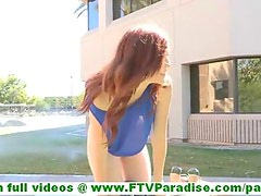 Elle skinny innocent redhead girl showing naked pussy and posing and toying pussy outdoors
