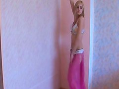 Adorable blonde teen showing hot belly dance