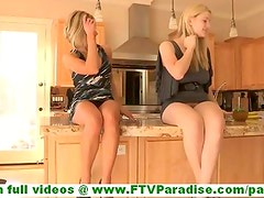 Anne and cute blonde lesbian girlfriends masturbating with carrots inserting four carrots in pussy