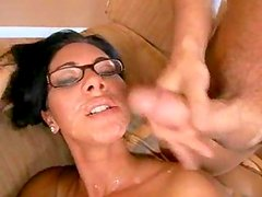 Sexy chick gets her glasses wet
