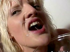 Dirty blonde whore gets her greedy mouth