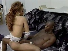 Ebony fuck on black couch