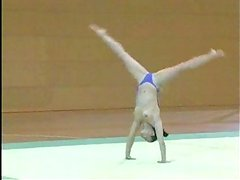 Topless gymnast