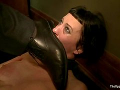 Brunette Cherry Torn fingers her pussy and gets tortured