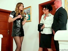 Maid in tight black latex dress is wicked sexy