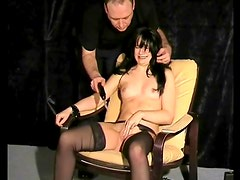 Cute bound girl suffers electro pussy pain
